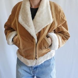 Wilsons leather suede fur lined bomber jacket
